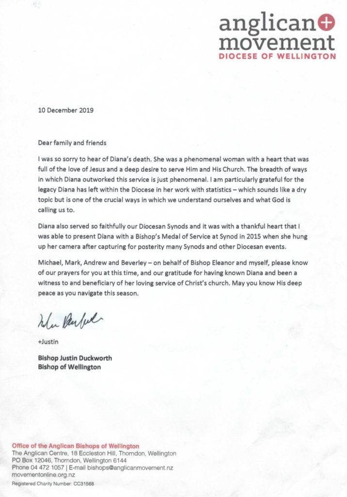 Letter from Bishop Justin